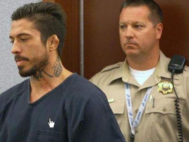 War Machine enters the courtroom at Clark County District Court for his trial, which opened this weekSource:Twitter