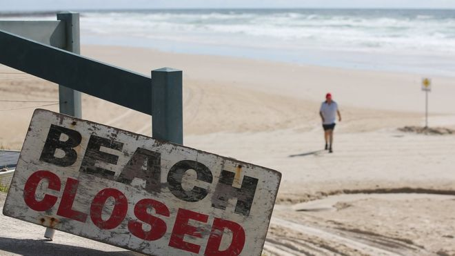 Ballina's Shelly Beach on the far north coast of NSW was closed after Japanese surfer Tadashi Nakahara, 41, died following a shark attack in February