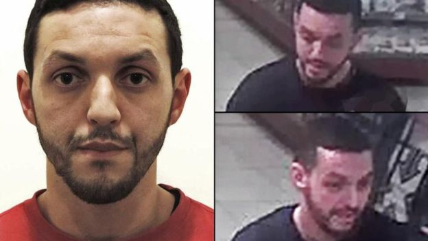 The images on the right were taken at a service station in the town of Ressons where Abrini was seen driving a car with suspect Salah Abdeslam Photo from Belgian Police