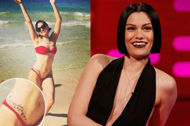 Jessie J on the Graham Norton Show admitting that she has a misspelled tattoo on her side. Aired January 2015