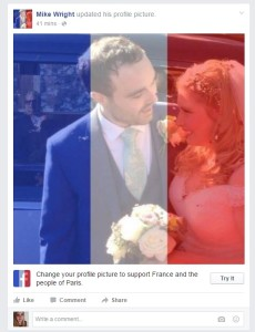 Facebook allows users to show their support with French flag profile pictures