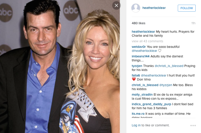 Heather Locklear offers support to fellow actor, Charlie Sheen
