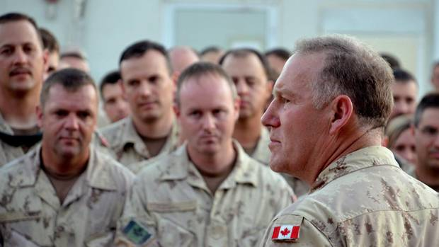 Gen. Walt Natynczyk gives his final address on Saturday July 2, 2011 before the formal end of combat operations, at Kandahar Airfield, Afghanistan. (Murray Brewster/The Canadian Press)