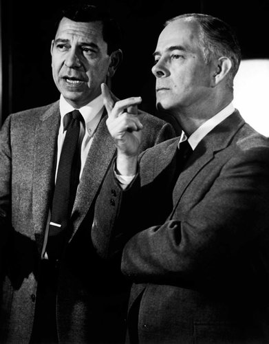 """Harry Morgan, right, with Jack Webb in """"Dragnet"""" in 1967. Credit Everett Collection"""