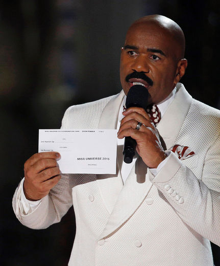 Steve Harvey holds up the card showing the winners after he incorrectly announced Miss Colombia Ariadna Gutierrez as the winner at the Miss Universe pageant on Sunday, Dec. 20, 2015, in Las Vegas. Miss Philippines Pia Alonzo Wurtzbach was named Miss Universe. (AP Photo/John Locher) AP