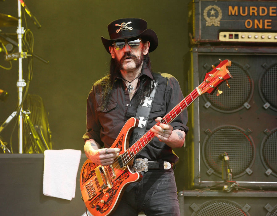 Lemmy Kilmister of Motorhead performing on the Pyramid Stage at the Glastonbury Festival, at Worthy Farm in Somerset Rio Ferdinand at Glastonbury