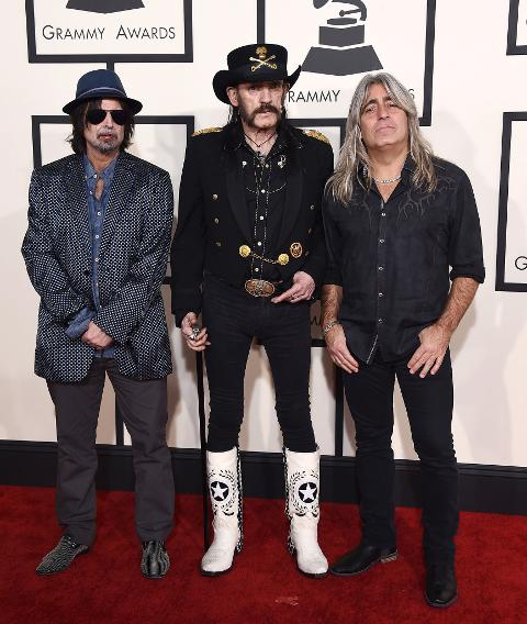 Grammys 2015 Red Carpet Arrivals | Phil Campbell, Lemmy Kilmister, and Mikkey Dee of Motorhead