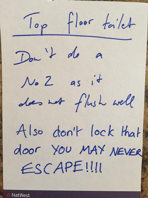 No escape: Martyn Hett's mum warns him not to use the upstairs loo