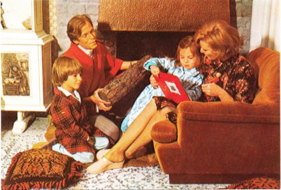 Vintage postcard 1970s Happy Family with Log and Bathrobes cozy fireplace scene with Dad. Etsy.com