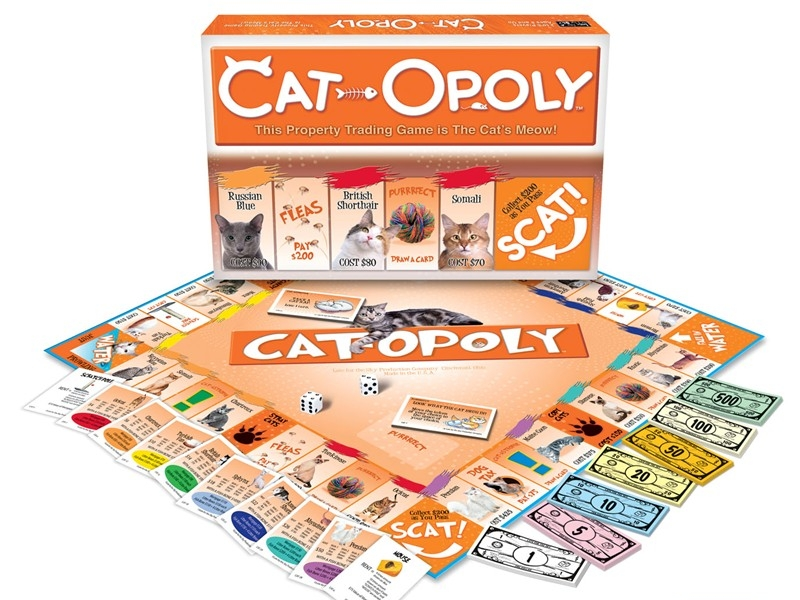 """Pass """"Scat"""" and collect $200 dollars on the Cat-Opoly board game LATE FOR THE SKY"""