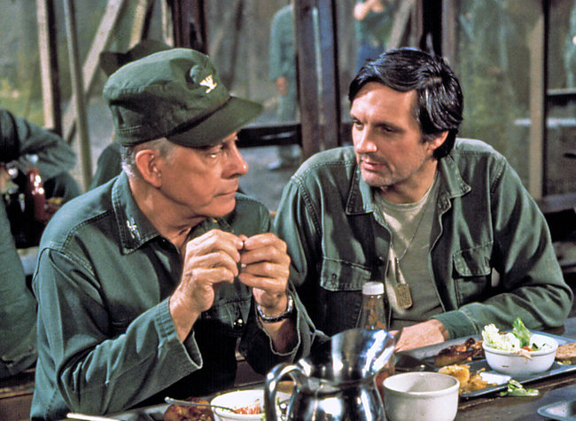 """Mr. Morgan, left, with Alan Alda in the mess tent in """"M*A*S*H."""" Mr. Morgan played Col. Sherman T. Potter. Credit CBS, via Photofest"""