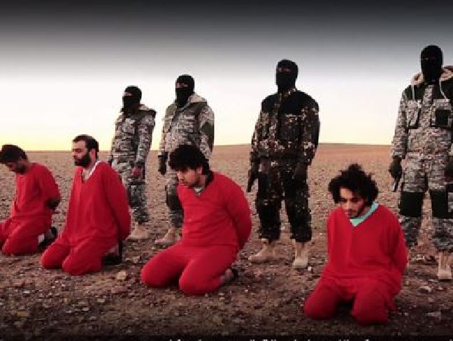 Atrocious ... ISIS purportedly shot dead five British spies in a new video. Picture: YouTubeSource:Supplied