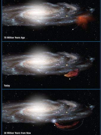 A diagram showing the trajectory of the Smith Cloud as it arced out of the plane of the Milky Way and then returns.  Photo - Nasa/ESA/A.Felid (STscl)