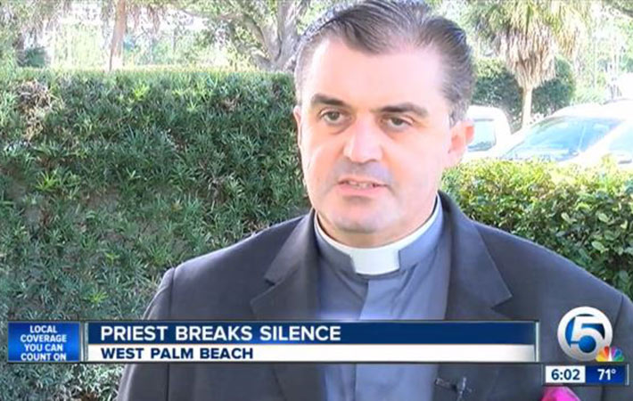"Palm Beach Diocese claims Fr. John Gallagher is ""blatantly lying"" and ""in need of professional assistance."" Photo by: WPTV"