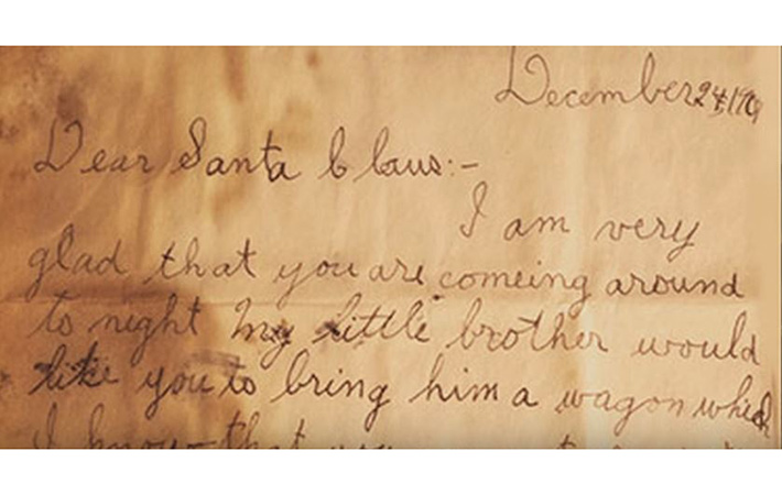 An amazing discovery: humble letters to Santa from Mary and Alfred McGann echo across the decades. Photo by: Corey Kilgannon / YouTube