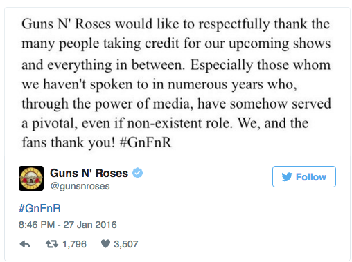 Source from official Guns N' Roses Twitter feed