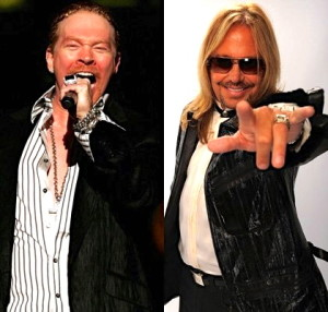 Vince Neil vs. Axl Rose In 1989, Vince Neil punched Guns N' Roses guitarist Izzy Stradlin in reaction to a prior incident in which Stradlin allegedly assaulted Neil's wife. Neil and Axl Rose then began trading insults and promised a boxing match - a fight that was highly anticipated but still hasn't happened.—XFINITY Music Programmers  (Photos: Scott Gries, Getty Images; Michael Caulfield, Getty Images)