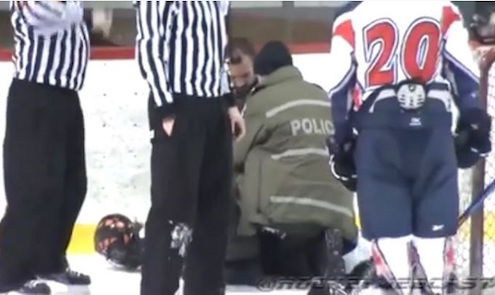 This Canadian junior player was arrested on the ice after a scrape with the linesman. (@HockeyWebCast)