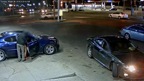 """(Images taken from police surveillance video) Police say a """"heated argument"""" lead to a women opening fire into another vehicle around 4:20 a.m. March 20 at a Mobil gas station at 15510 Fenkell in Detroit. The victim was taken to a local hospital and a suspect was arrested Monday afternoon with charges pending."""