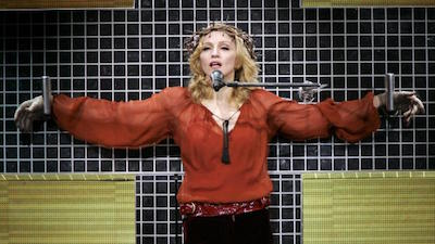 Madonna during her Confessions tour, crucified for 'Live To Tell'. Picture: GettySource:Supplied