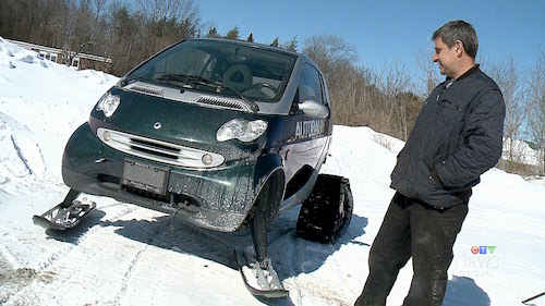 Most Canadian car: Company shows off ski-rigged Smart car Eric Longley takes a spin in Manotick in Canada's smartest car completely converted for off road traction. Photo- CTV News/Youtube