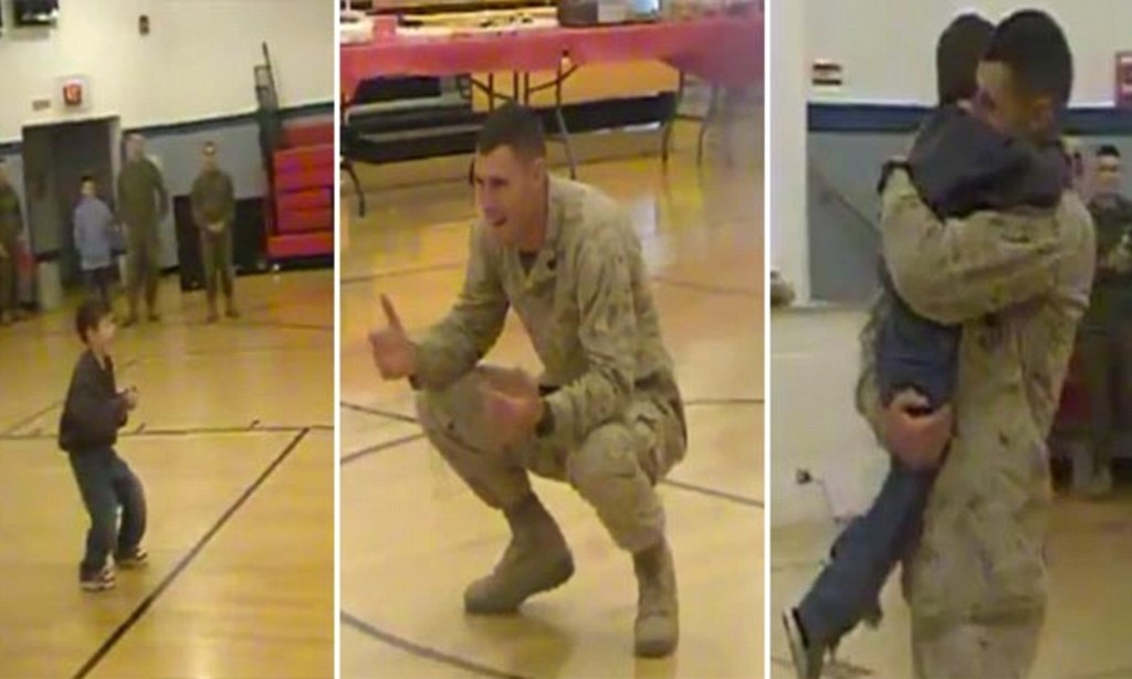US Marine welcomed home by son with cerebral palsy as he WALKS to him for first time