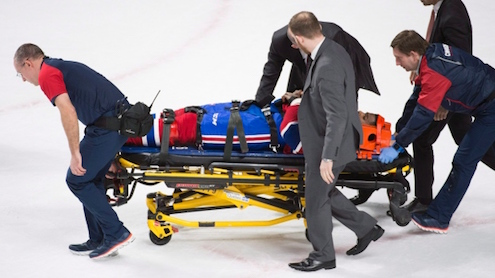 Montreal Canadiens' P.K. Subban is stretchered off the ice during third period NHL hockey action against the Buffalo Sabres in Montreal, Thursday, March 10, 2016. (Graham Hughes / THE CANADIAN PRESS)