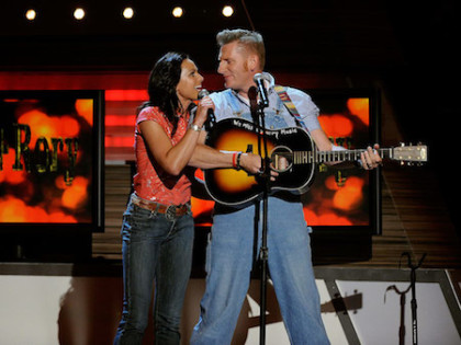 Joey and Rory Feek, known as country-gospel duo Joey+Rory, in 2010 ETHAN MILLER / ACMA2010 / GETTY IMAGES FOR ACMA