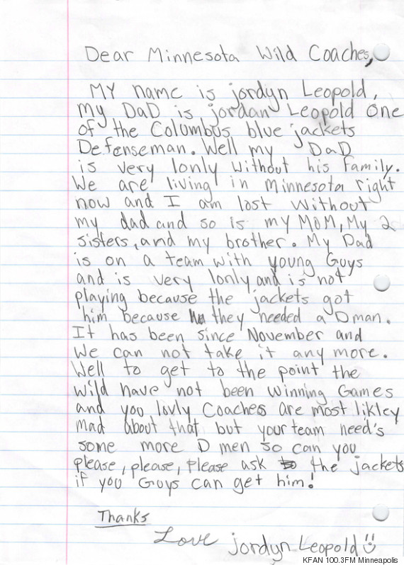 Priceless!! - 11 year old writes letter asking NHL coaches to bring her dad home