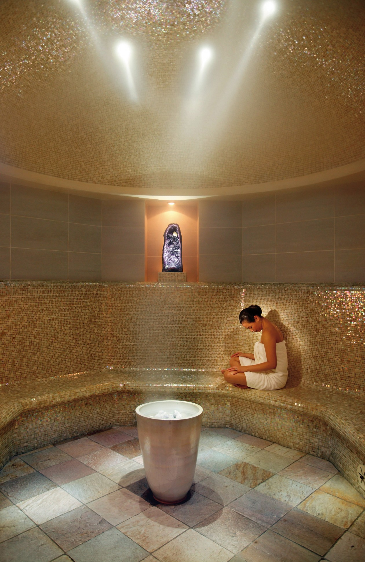 The sleek steam room