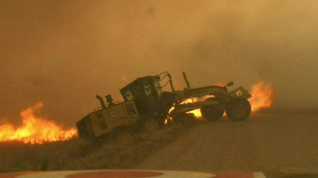 TV News crew rescues man from wildfire. You have to see this!
