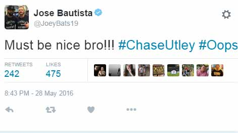 Bautista weighs in on Utley drama with cryptic tweet
