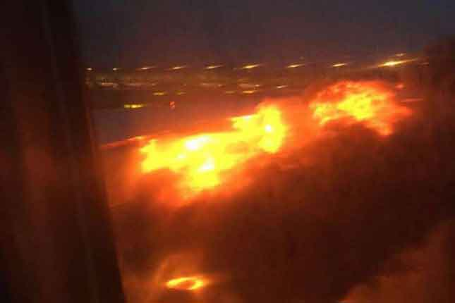 Shocking video captured of a Singapore Airlines Boeing 777 catching fire