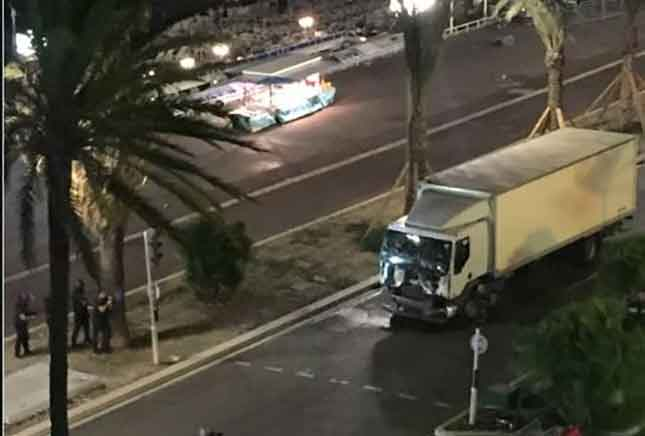 Horrific videos capture truck accelerating into crowd, shootout in France