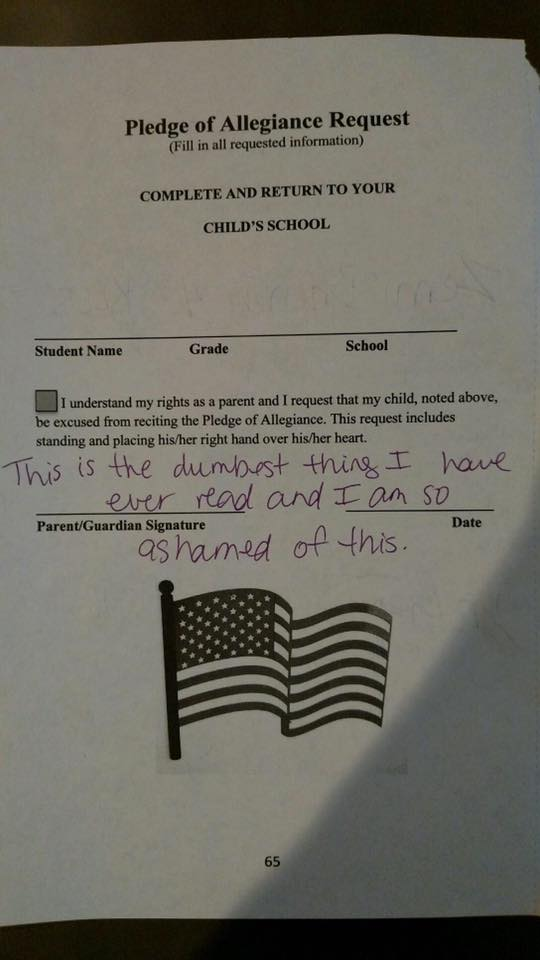 School's 'Pledge of Allegiance' waiver has some upset