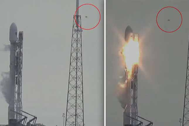 Conspiracy theorists claim this footage is proof UFO caused SpaceX rocket explosion. You decide.