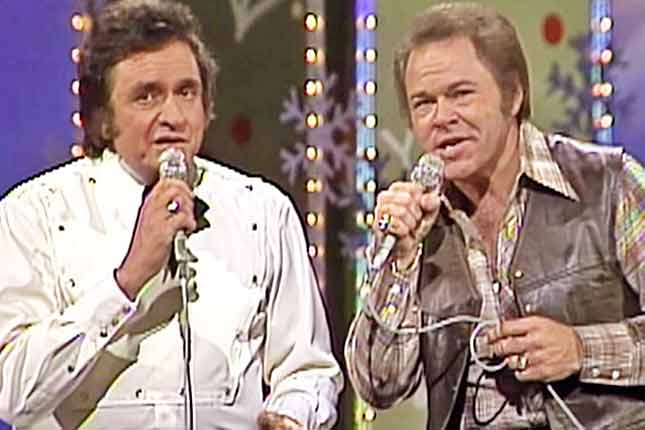 Footage of Johnny Cash & Roy Clark's magical Christmas Medley resurfaces